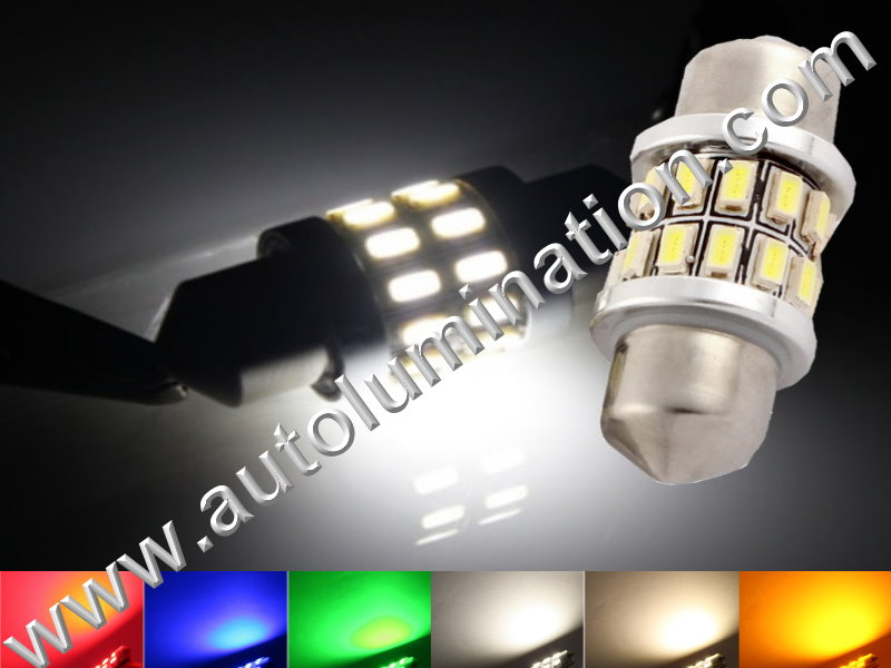 Festoon 360 Degree 24SMD 3014 Canbus Bulb Instrument Panel Gauge Colored Led Bulbs Lights Lamps