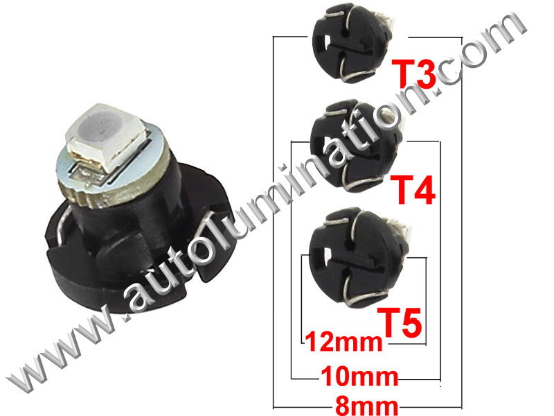 T3 T4 T5 Neowedge SMD 1led 3528 Instrument Panel Gauge Colored Led Bulbs Lights Lamps