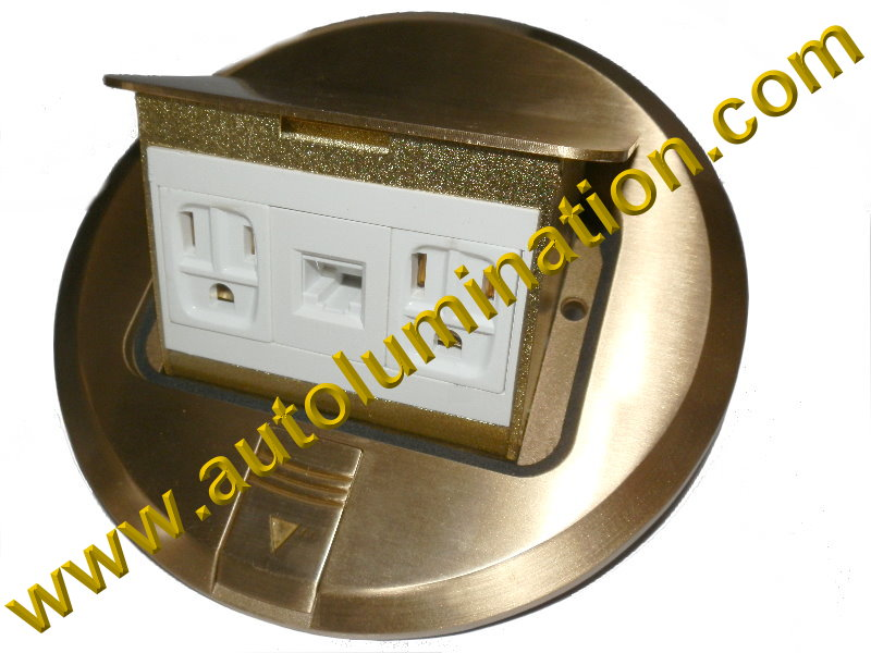 Pop Up Electrical Floor Box with Duplex Plugs and RJ45 Ethernet Receptacles Round Brass Gold