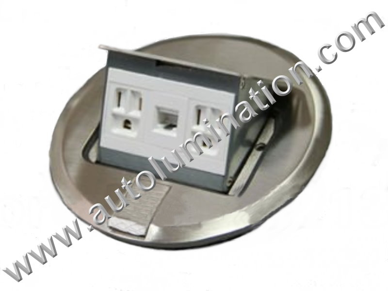 Pop Up Electrical Floor Box with Duplex Plugs and RJ45 Ethernet Receptacles Round Nickel Silver Stainless Steel