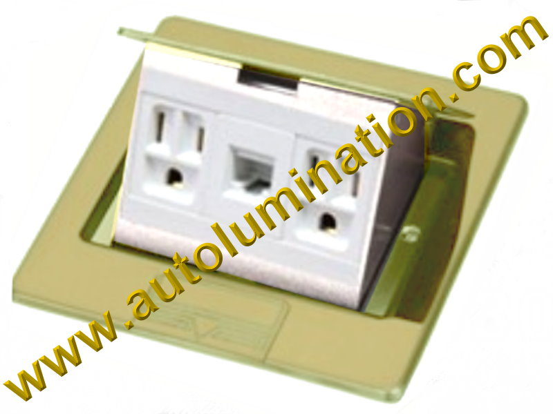 Pop Up Electrical Floor Box with Duplex Plugs and RJ45 Ethernet Receptacles Square Brass Gold