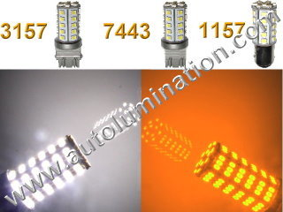 1157 3157 7443  Led Switchback  SACK CK 39 led White Amber Turn Signal Bulbs