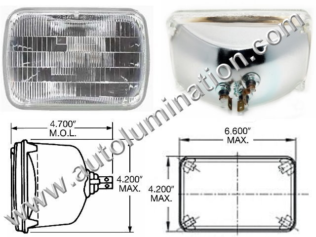 H4652 H4656 H4668 H6545 4652 4656 4668 6545 Halogen Sealed Beam Conversions Headlight