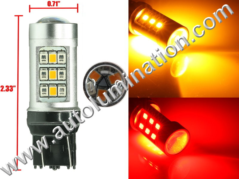 7443  Led Switchback  Optical led Red Amber Turn Signal Bulbs