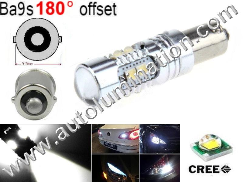 Ba9s Bayonet Base Bulbs = 53, 57, 182, 257, 363, 1445, 17053, 1893, 1895 6253, 64111 Osram 12082 Phillips 9 Watt Cree AC Cool White Led Side Marker License Plate Bulb