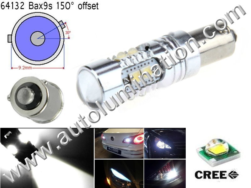 Bax9s Bayonet Base Bulbs =H6W BAX9s 64132 Osram 12082 Phillips 9 Watt Cree Cool White Led Side Marker License Plate Bulb