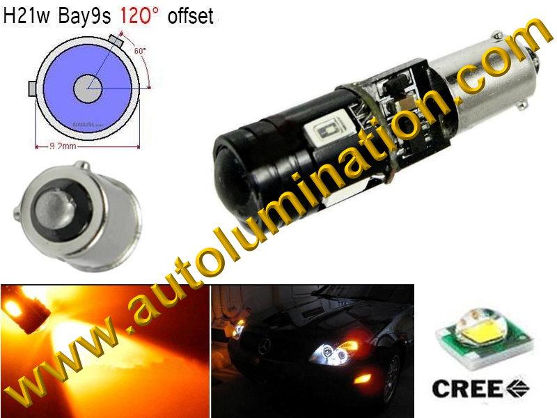 Bay9s Bayonet Base Bulbs H21W BAY9s 64136 9Watt Cree Led Side Marker License Plate Bulb Amber