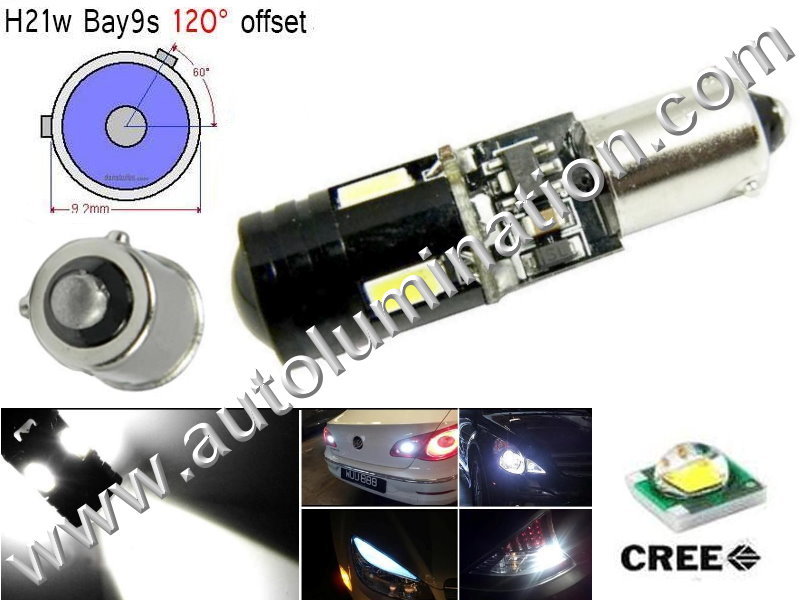 Bay9s Bayonet Base Bulbs H21W BAY9s 64136 9Watt Cree Led Side Marker License Plate Bulb Cool White