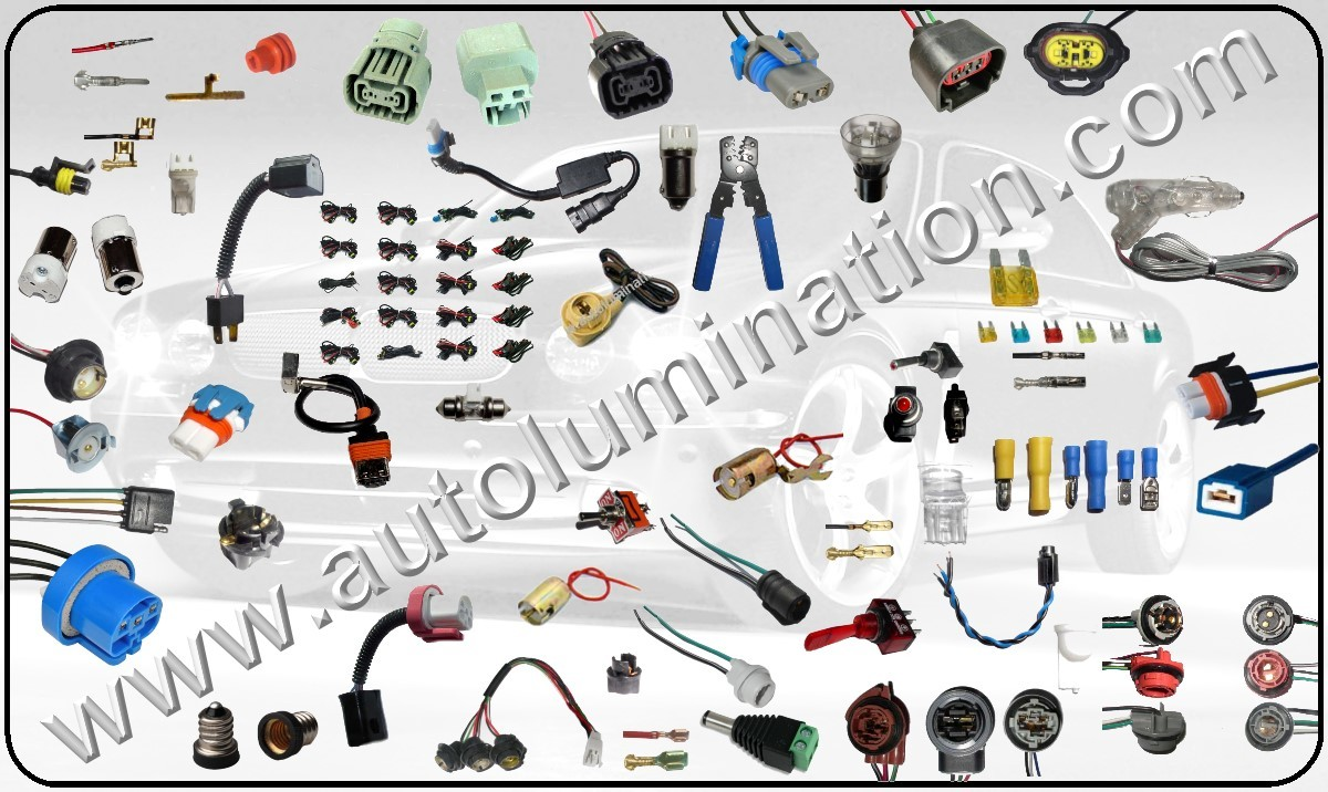 Automotive, Automobile, Car, Truck, Motorcycle, Light Bulb Connectors, Headlight Bulb Connectors, male,P13,P13w,P20d,P22d,P29t,parts,PX29t,Relay Harness,Replacement Headlight Bulbs,Replacement parts,sealed,Sockets,Super White,