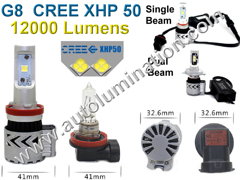 9005 P20d HB3A 6000K Super White LED g8 8th generation Cree High Powered Headlight Bulb