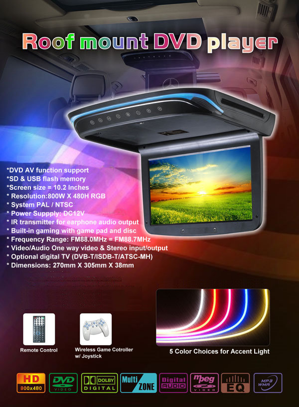 Car Mobile Full Color  DVD 10.2 inch LCD HD Display Roof Mount Game TV Mounted