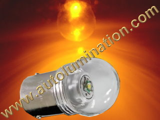 Ba15s g18.5 81 Led 5 Watt Amber Cree Packard Cadillac 6 Volt + Positive Ground Tail Light Bulb