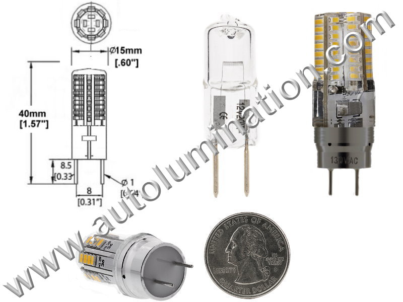 4 watt 2 Pin G8 Bi-Pin Led Bulb Replaces GE WB08X10051 or WB08X10057 Microwave Oven