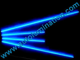 Car with Neon Underbody Light Tubes Blue