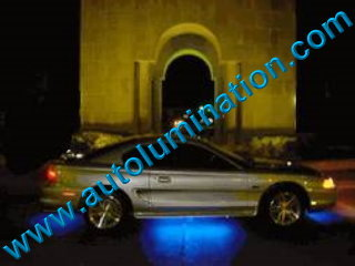 Car with Neon Underbody Light Kit Blue
