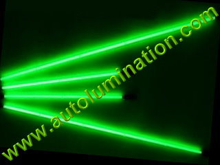 Car with Neon Underbody Light Tubes Green