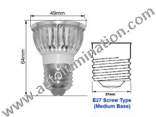 E27 Led 8 Watt 4x2 watt  Light Bulb 6000K Cool White PAR 16 Flood