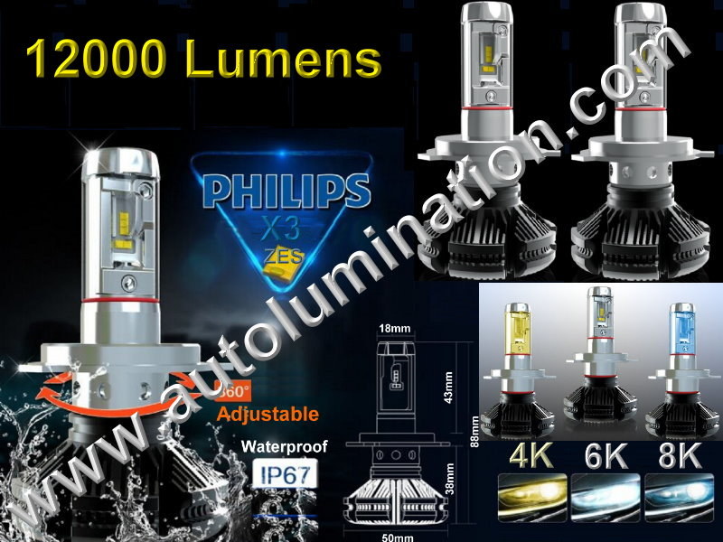 9005 P20d HB3A 6000K Super White LED 6400 lumens 5th Generation X3 XES Phillips High Powered Headlight Bulb