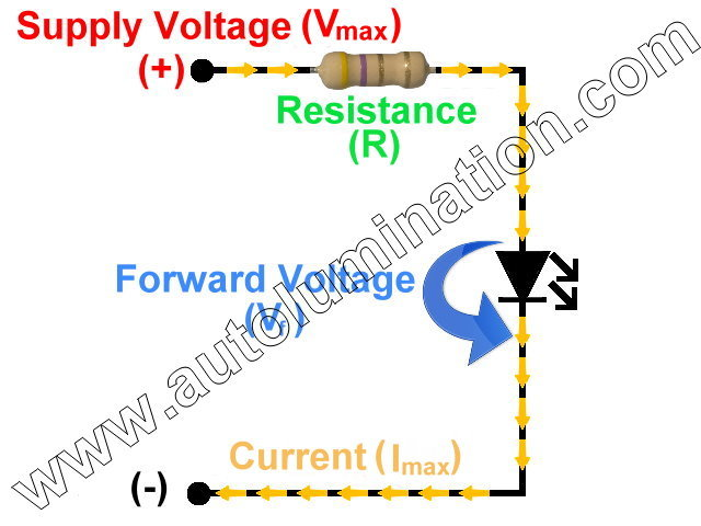 Single Led Resistance Resistor Circuit Schematic Calculator