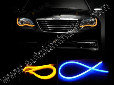 LED Strip Switchback Blue Amber Turn Signal Daylight