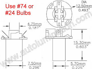 Instrument Panel Light T21 T1 3/4 Long Wedge Twist Lock Bulb Holder Socket Grey