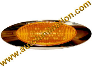 Truck Led Side Marker Light Amber 16 led Chrome Peterbuilt