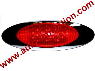 Truck Led Side Marker Light Red 16 led Chrome Peterbuilt