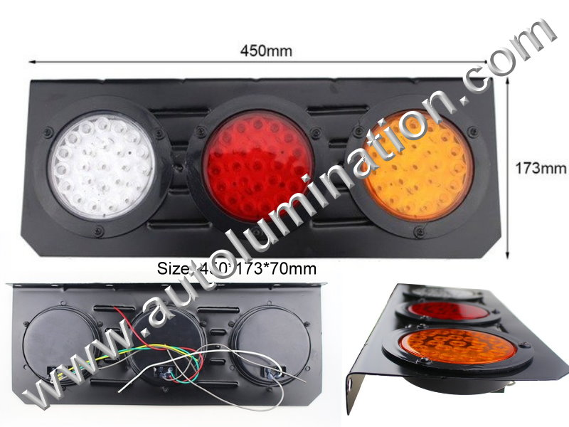 64 led Truck Trailer RV Combination Tail Light Brake Turn Signal Reverse Back Up Light Bracket Aluminum Mount Led Light Assembly Wiring