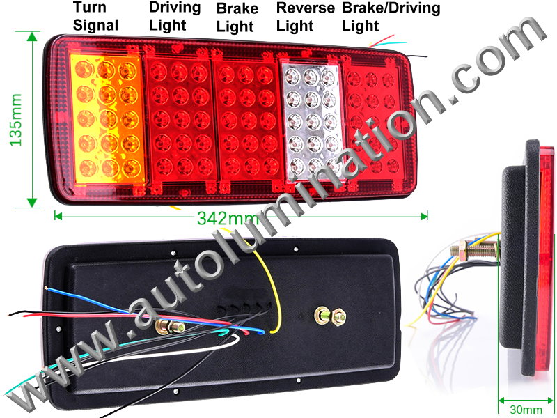 12v 16 Led Trailer Tail Light Stop Turn Signal Tail Backup