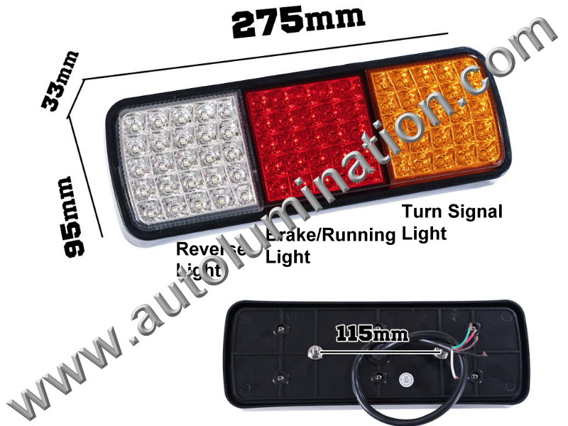 Truck Trailer RV 75led Combination Tail Light Brake Turn Signal Bracket Mount Led Light Assembly