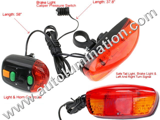 Led Bicycle Turn Signal, Brake and Horn Safety Kit