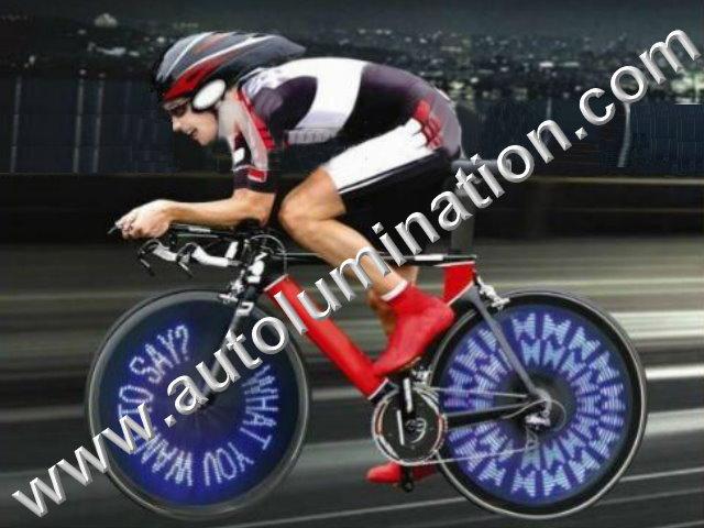 Cycling Bicycle Flash 30 Blue LED Wireless Custom Messaging Bike Wheel tire Lights