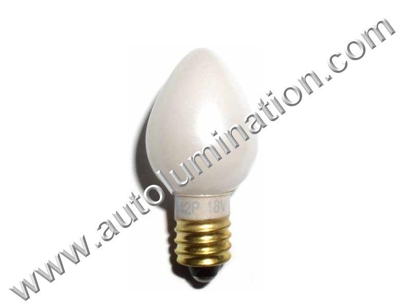 1442 C6 E10 18V Pearl Glass Street Light Incandescent Bulb
