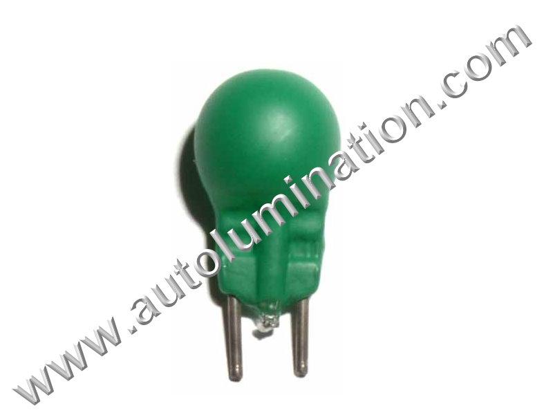 19 G3-1/2 Bi-Pin 14.4V Green Glass Bi Pin Base Light Incandescent Bulb
