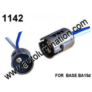 Ba15d Stainless Steel Taill, Brake, Turn, Boat Ba15d Bayonet Single Circuit, Dual Contact Stainless Steel Pigtail Connector Socket Receptacle 16 Gauge