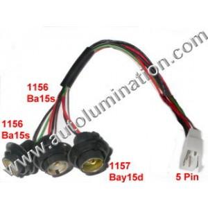 Taill, Brake, Turn 2x 1156 Ba15s Single Circuit + 1x 1157 Bay15d Dual Circuit Tail, Brake, Reverse, Turn Signal Light 5 Wire Harness Assembly 16 Gauge