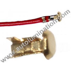Bayonet Button Contact With Wire Tin-Brass 16 Gauge Ba15s, Bay15d, Ba15d, Baz15d, Bau15s, Ba9s 16 Gauge