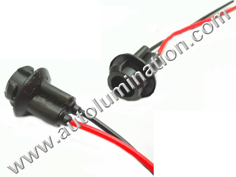 194 T10 Wedge Plastic standard bulb bases Black plug in 2wire pigtail 6in 18 gauge wires