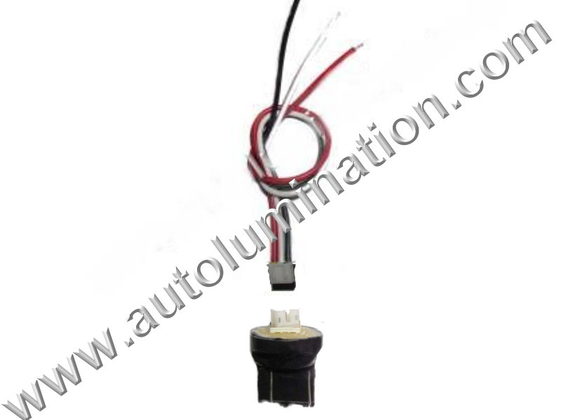 7443 T20 Wedge Plastic standard bulb bases with a plug in 2wire pigtail 6in 18 gauge wires